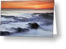 Cambria Coast Sunset Greeting Card by Nolan Nitschke