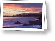 Cambria Coastline With Purple Sunset Colors Greeting Card