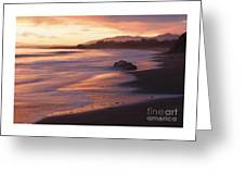 Cambria Coastline With Shimmering Sunset Color Greeting Card