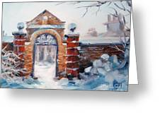 Cambridge In Snow Greeting Card