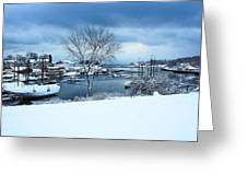 Camden Harbor In The Snow Greeting Card