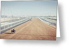 Camel Racing Track In Dubai Greeting Card