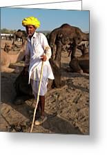 Camel Trader Pushkar Greeting Card