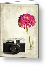 Camera And Flowers Greeting Card