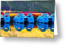 Cameron Lake Paddle Boats Greeting Card