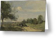 Camille Corot   The Wagon Souvenir Of Saintry Greeting Card