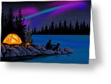 Camping With Dog Greeting Card