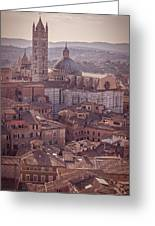 Campanile And Cathedral In Siena Italy Antique Matte Greeting Card