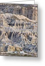 Campers And Eroded Cliffs At Ricardo Greeting Card