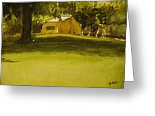 Camping In My Yellow Tent Greeting Card