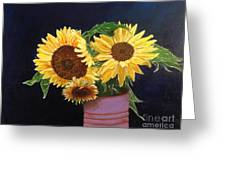 Can Of Sunflowers Greeting Card