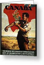 Canada - Canadian Pacific Railway - Flag - Retro Travel Poster - Vintage Poster Greeting Card