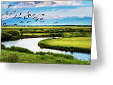 Canada Geese Entering Idaho's Teton Valley Greeting Card