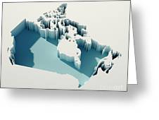 Canada Simple Intrusion Map 3d Render Greeting Card