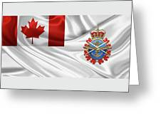 Canadian Armed Forces  -  C A F  Badge Over Flag Greeting Card