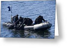 Canadian Divers Being Helped Aboard Greeting Card