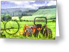Canadian Farmland With Tractor Greeting Card