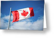 Canadian Flag Flying Proudly Greeting Card