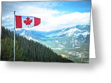 Canadian Flag Over Banff Greeting Card