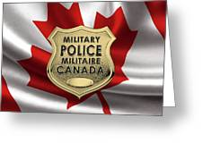 Canadian Forces Military Police C F M P  -  M P Officer Id Badge Over Canadian Flag Greeting Card
