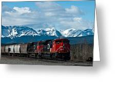 Canadian National Freight Train Leaving The Rockies - Hinton Alberta Greeting Card