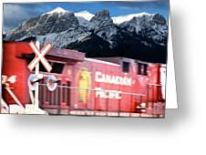 Canadian Pacific Trail Slices Through The Rockies Greeting Card