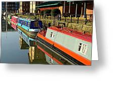 Canal Barges At Gloucester Dock Greeting Card
