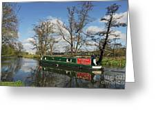 Canal Boat On Wey Navigations Greeting Card