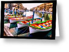 Canal Boats On A Canal In Venice L A S Greeting Card