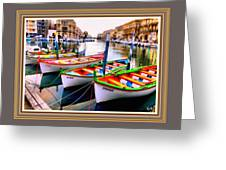 Canal Boats On A Canal In Venice L A S With Decorative Ornate Printed Frame.  Greeting Card