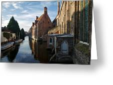 Canal By Church Greeting Card