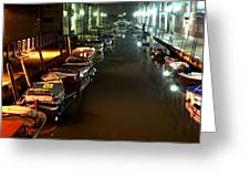 Canal In Venice At Night Greeting Card