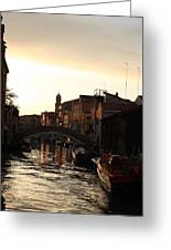 Canal In Venice At Sunset Greeting Card