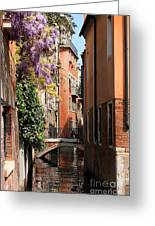 Canal In Venice With Flowers Greeting Card