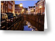 Canal Kromme Nieuwegracht In Utrecht In The Evening 15 Greeting Card