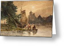 Canal Landscape With A Church Greeting Card