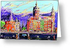 Canal Of Amsterdam, Storm Is Comming Greeting Card
