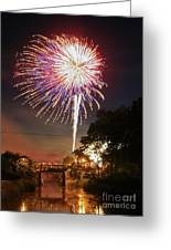 Canal View Of Fire Works Greeting Card