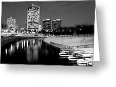 Canal Walk And Richmond Skyline In Black And White Greeting Card