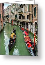Canal With Gondolas In Venice Italy Greeting Card