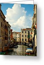 Canal With Iron Bridge In Venice Greeting Card