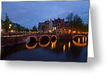 Canals Of Amsterdam At Night Greeting Card