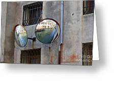 Canals Reflected In Mirrors In Venice Italy Greeting Card
