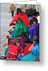 Canari Queue In Felt Hats Bright Cloaks Alausi Ecuador Greeting Card