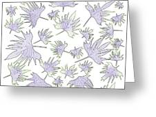Canary Vine Leaves - Purple And Green Greeting Card
