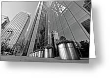 Canary Wharf Financial District In Black And White Greeting Card