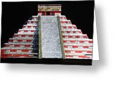 Cancun Mexico - Chichen Itza - Temple Of Kukulcan-el Castillo Pyramid Night Lights 1 Greeting Card