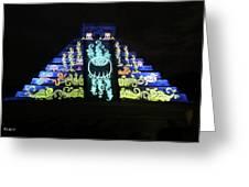 Cancun Mexico - Chichen Itza - Temple Of Kukulcan-el Castillo Pyramid Night Lights 6 Greeting Card