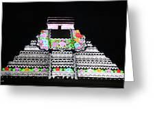 Cancun Mexico - Chichen Itza - Temple Of Kukulcan-el Castillo Pyramid Night Lights 8 Greeting Card