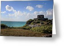 Cancun Mexico - Tulum Ruins - Temple For God Of The Wind 1 Greeting Card